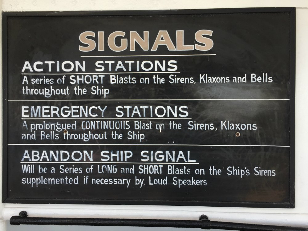 World War II era signals sign on the Queen Mary. Long Beach, CA, June 2017 (Photo: Sarah Sundin)