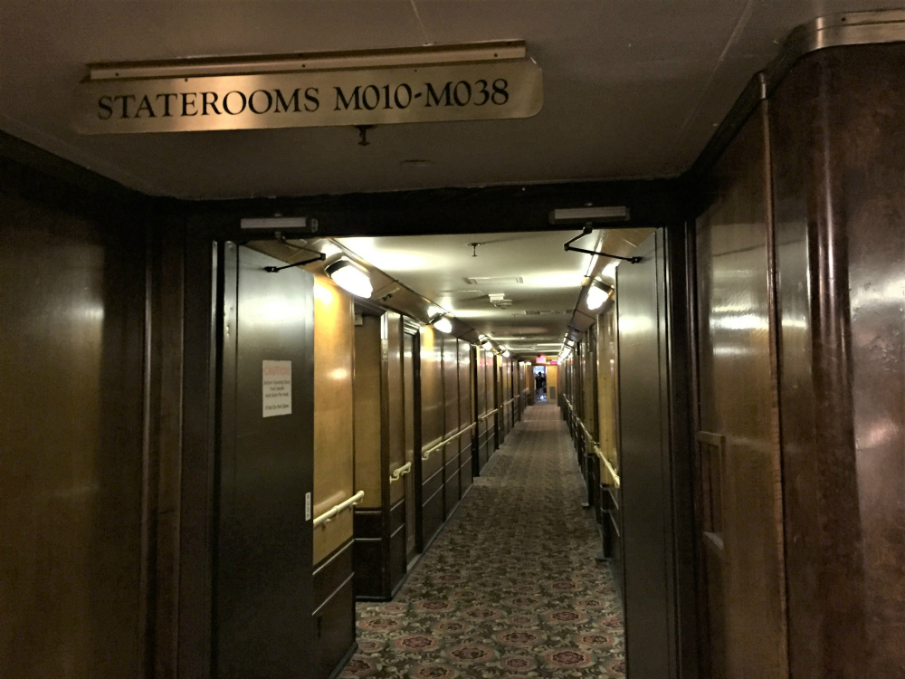 Passageway and staterooms, main deck, Queen Mary. Long Beach, CA, June 2017 (Photo: Sarah Sundin)