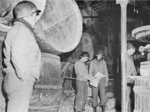 US VI Corps Headquarters in a wine cellar near Anzio, Italy, 1944 (US Army Center of Military History)