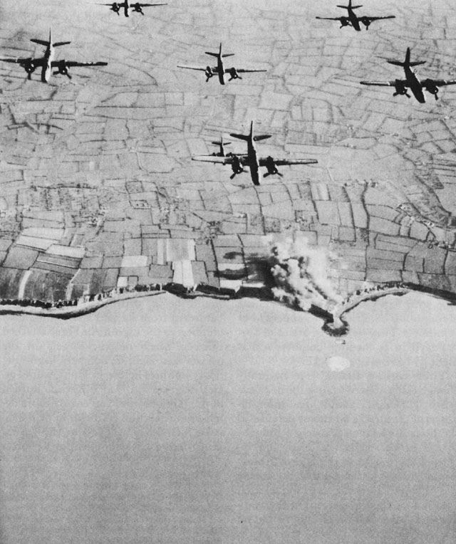Pre-invasion Bombing of Pointe du Hoc by US Ninth Air Force A-20 light bombers, spring 1944. (US Army Center for Military History)
