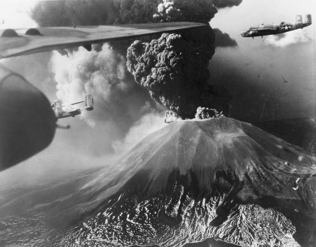 B-25 Mitchells of the US 321st Bomb Group flying past Mount Vesuvius, Italy during its eruption of 18-23 Mar 1944 (USAF photo)