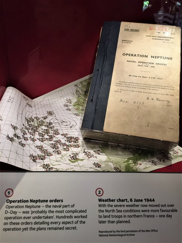 A copy of Operation Neptune orders and a weather map, on display at the National Museum of the Royal Navy, Portsmouth, England, September 2017 (Photo: Sarah Sundin)