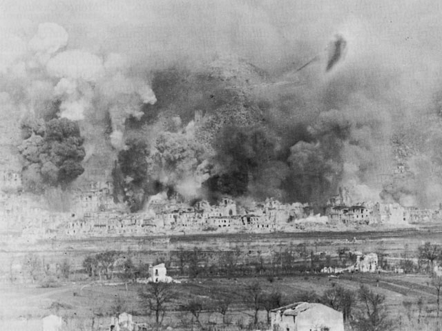 Town of Cassino during Allied bombing, 1944 (US Army Center of Military History)
