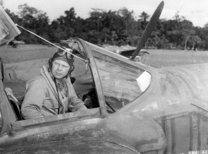 Maj. Richard Bong in his P-38 (US Air Force photo)