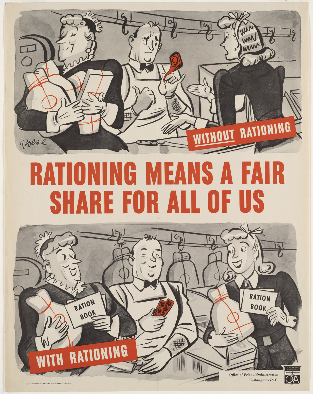 US poster about food rationing, 1943 (US Office of Price Administration)