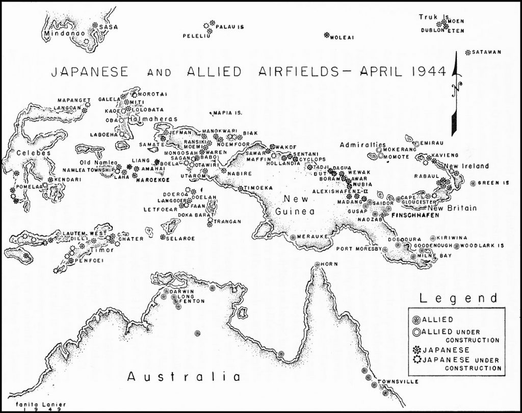 Map of Japanese and Allied airfields in the Southwest Pacific Area, April 1944 (Source: US Air Force)