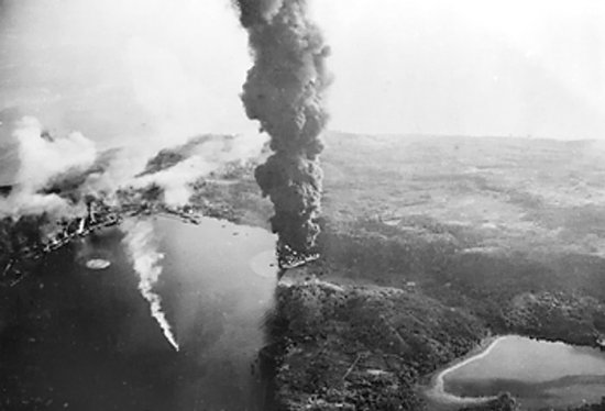 Japanese ships and harbor facilities after Allied carrier strike on Sabang, Sumatra, 19 Apr 1944 (Imperial War Museum: 4700-01 A 23249)