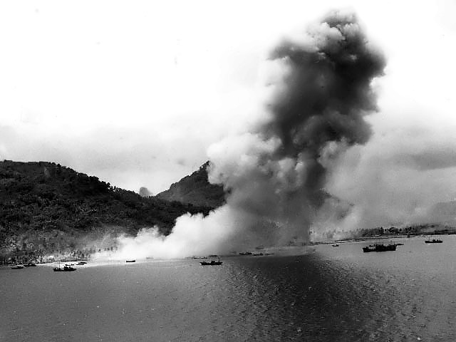 Japanese naval base at Truk in the Caroline Islands after US naval air attack, 30 April 1944 (US National Archives)