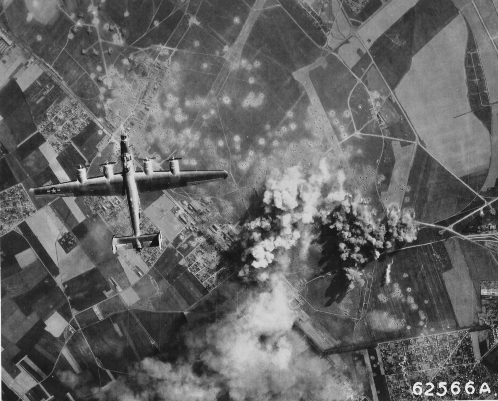 B-24 Liberator of the 705th Bomb Squadron over Orly Airfield, Paris, May 14 1944 (US National Archives)