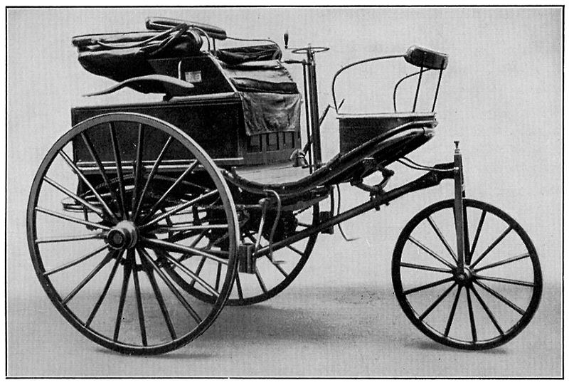 The Benz Patent-Motorwagen of 1888, used by Bertha Benz for the first long-distance road trip, 106 km by automobile. (Public domain via Wikipedia)