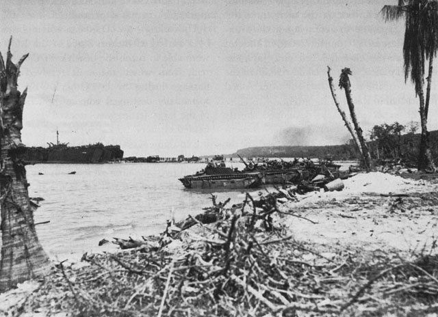 US LSTs and LVT(A)s unloading at Biak, May 1944 (US Center of Military History)