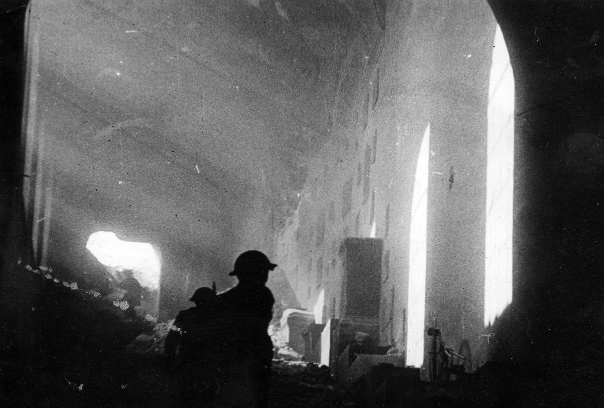 Polish soldiers inside the ruins of the Monte Cassino monastery, Italy, 18 May 1944 (public domain via WW2 Database)