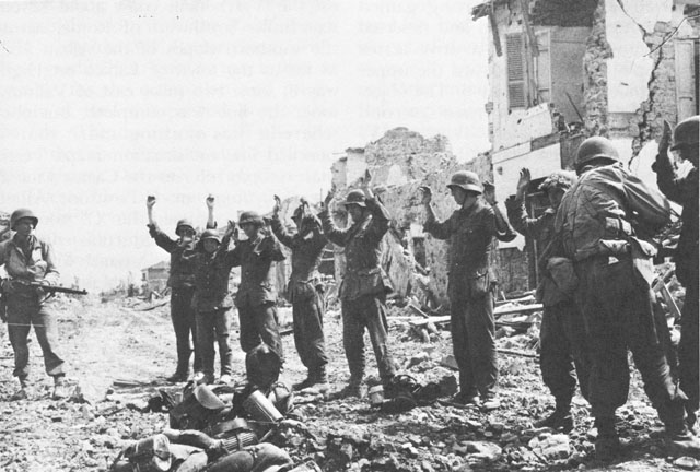 German prisoners of war at Cisterna, Italy, 25 May 1944 (US Army Center of Military History)