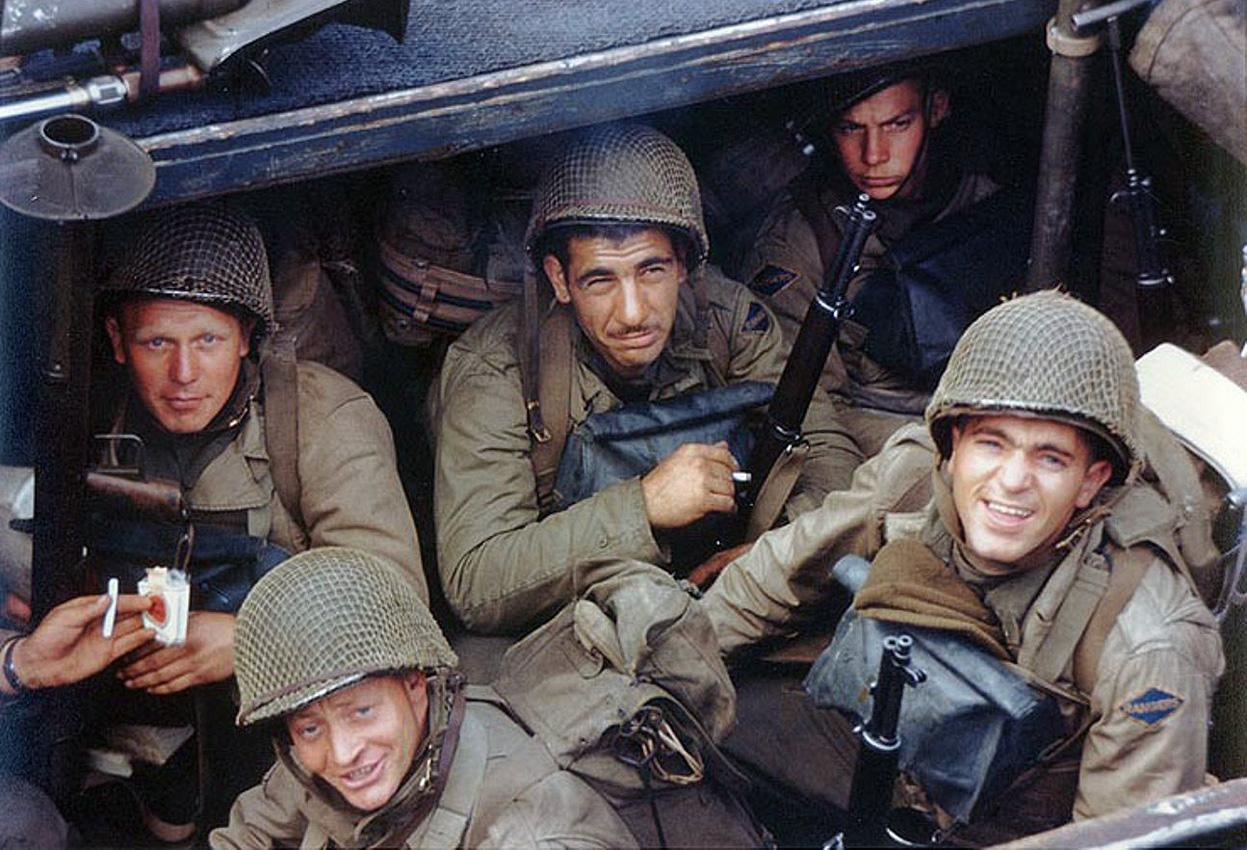 Army Rangers of the US 5th Ranger Battalion in an LCA landing craft about to board their troopship for D-day, Weymouth, England, 1 June 1944 (US National Archives)
