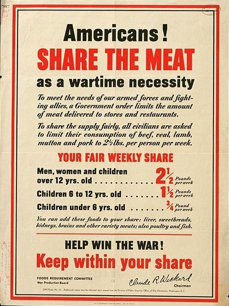 US poster about meat rationing, WWII