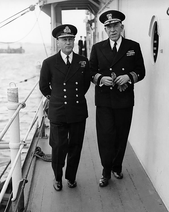 British Adm. Sir Bertram Ramsay, Allied Naval Commander for D-day, and US Navy Rear Admiral John Hall, commander of amphibious operations, aboard command ship USS Ancon, 25 May 1944 (US National Archives)