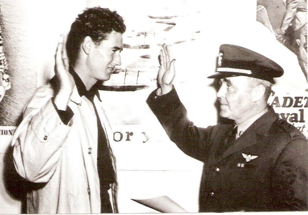 Ted Williams being sworn in to the military, 22 May 1942 (US Marine Corps photo)