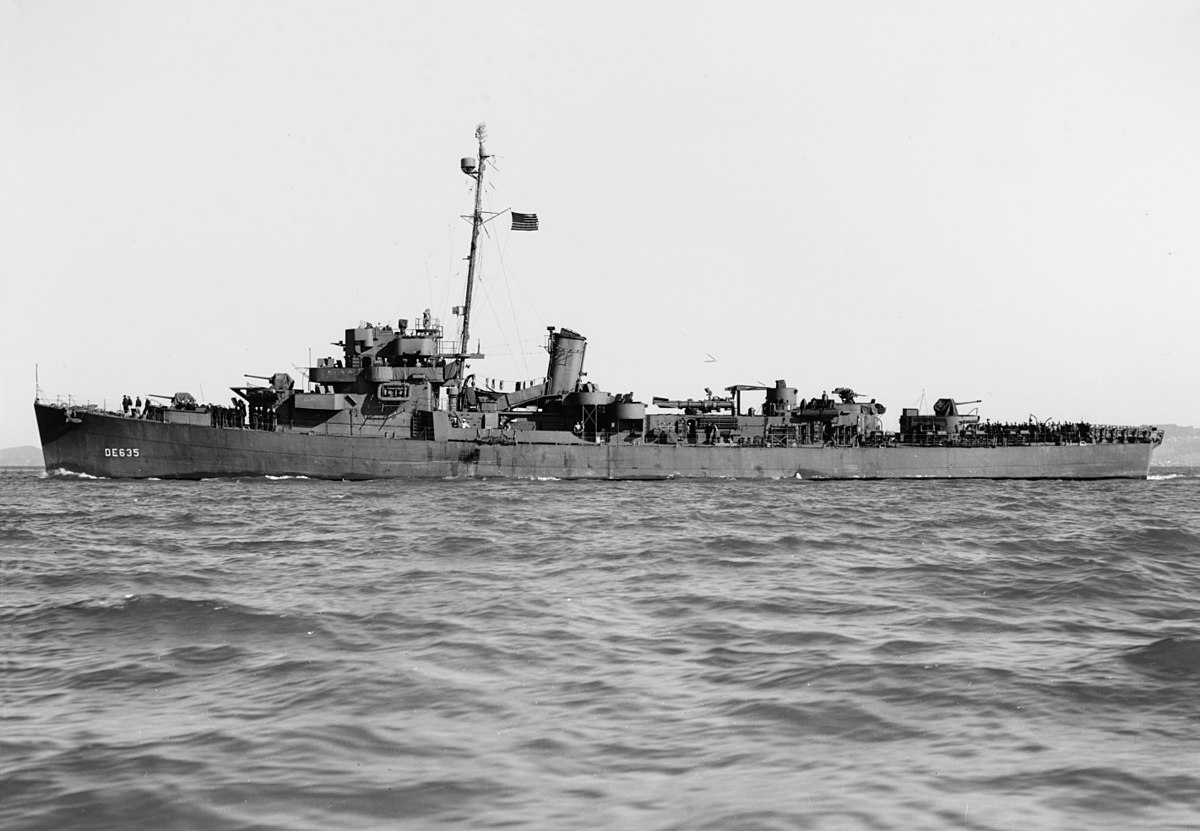 Destroyer escort USS England off San Francisco, CA, 9 Feb 1944 (US Naval History and Heritage Command)