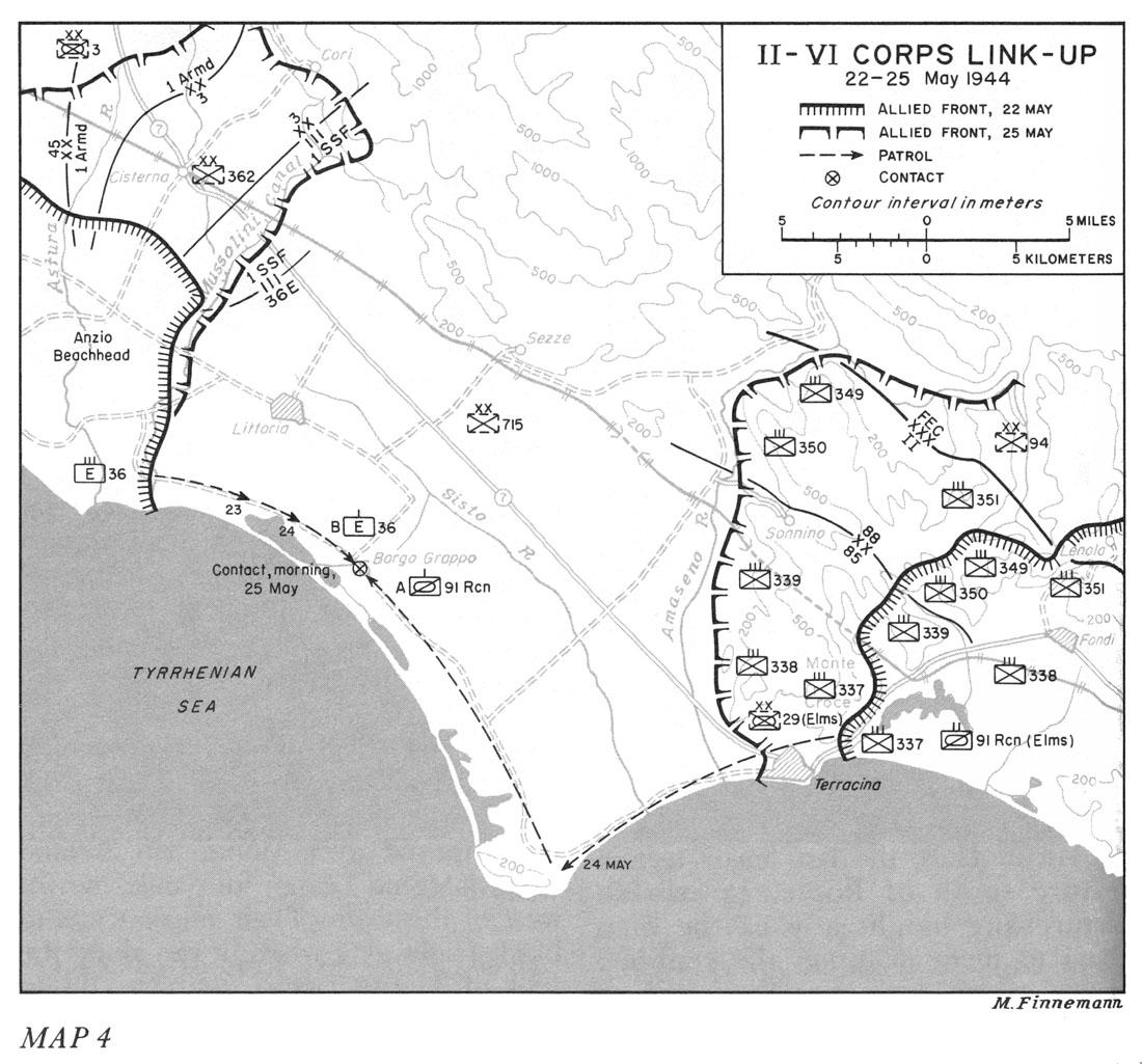 Map showing link-up of US II and VI Corps in Italy, 25 May 1944 (US Army Center of Military History)