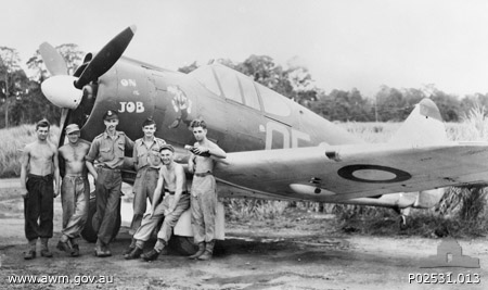 No. 4 Squadron RAAF pilots posing in front of Boomerang aircraft, Nadzab, New Guinea, 5 Oct 1943 (Australian War Memorial)
