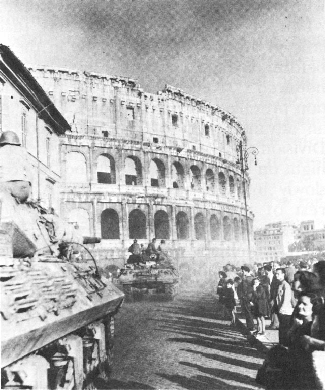 American tank destroyers at the Colosseum, Rome, June 1944 (US Army photo)