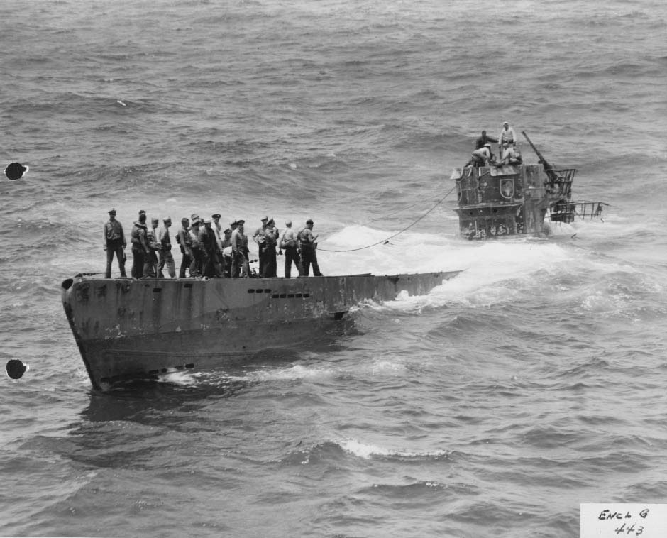 US Navy boarding party on captured German U-boat U-505, 4 June 1944 (US National Archives)