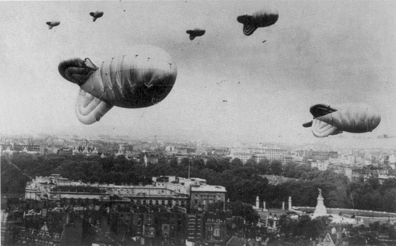 Barrage balloons over Buckingham Palace in London during WWII (RAF photo)