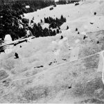 B-17 of US 94th Bomb Group drops supplies to French Resistance in Vercors region, 14 July 1944. (USAAF photo)