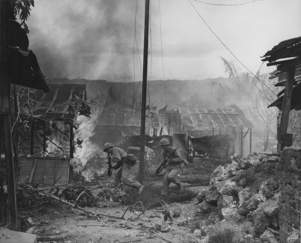US Marines in Garapan, Saipan, 2 July 1944 (US Marine Corps photo)