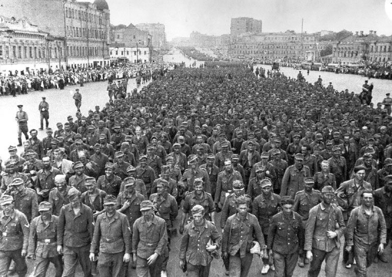 Captured German Fourth Army being paraded through Moscow, 17 July 1944 (Russian Archives)