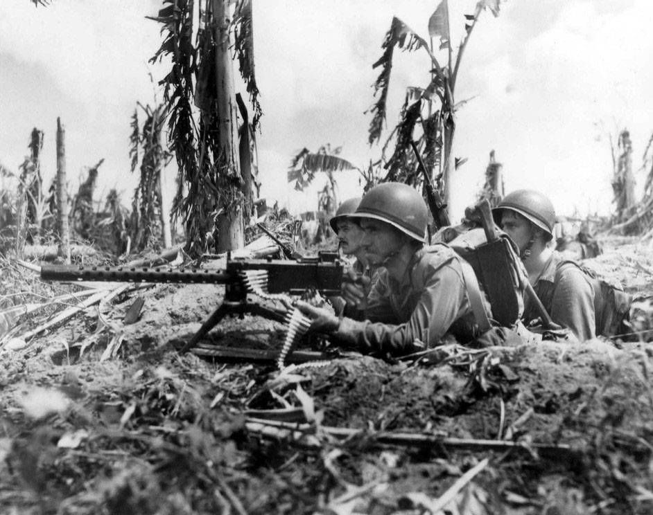 US Marines Gunnery Sergeant J. Paget and Privates L.C. Whether and V.A. Sot, Guam, 28 July 1944 (US National Archives)