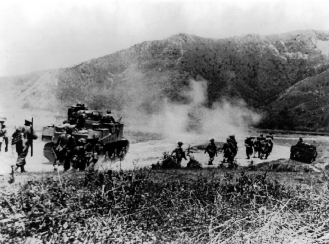 Gurkha troops on the Imphal-Kohima Road, 1944 (US Library of Congress)