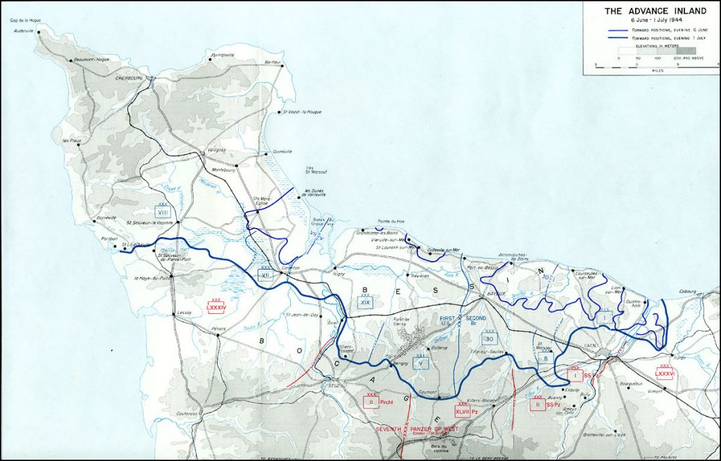 Map showing Allied advances in Normandy from June 6 to July 1, 1944 (US Army Center of Military History)