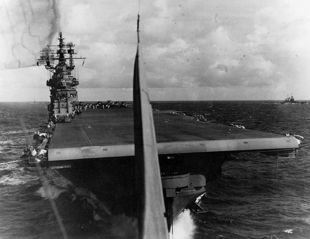SBD Dauntless after taking off from the carrier USS Lexington for strikes against Saipan in the Mariana Islands, 13 Jun 1944 (US National Museum of Naval Aviation)