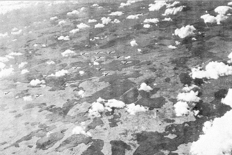 B-17s en route to Poltava, USSR, June 1944 (US Air Force photo)