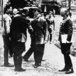 Col. Count Claus von Stauffenberg and Adm. Karl-Jesco von Puttkamer greet Hitler at Rastenburg, 15 July 1944, 5 days before assassination attempt. (German Federal Archive: Bild 146-1984-079-02)