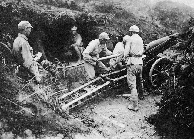 Artillerymen of Chinese 2nd Army in Sung Shan area of Burma. (US Army of Center of Military History)