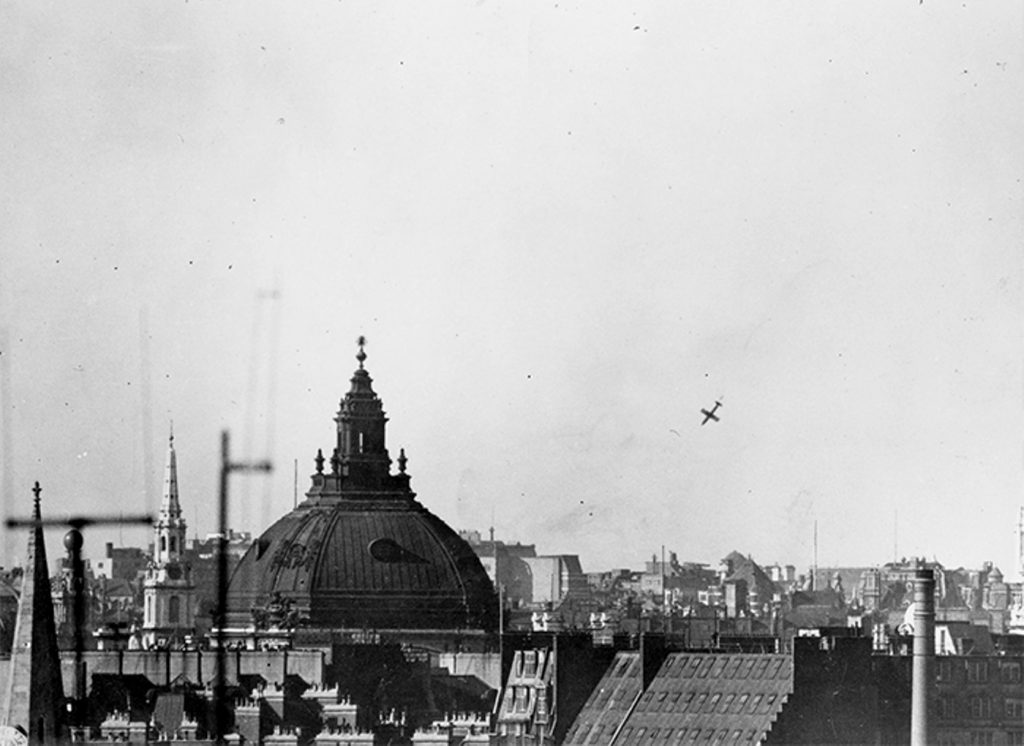 "V-1 ""buzz bomb"" falling over Covent Garden area of London, 14 June 1944 (US Army Center of Military History)"