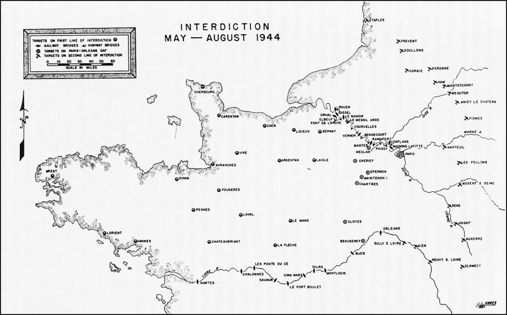 Map showing bridges and German airfields in northern France targeted by Allied Expeditionary Air Forces, May-August 1944 (US Army Air Forces map)