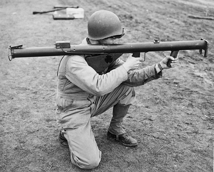 "Soldier holding an M1 ""Bazooka,"" 1943 (Library of Congress)"