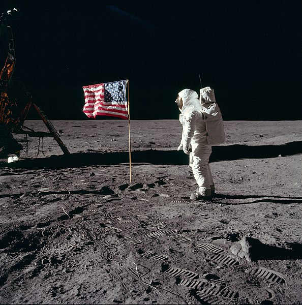 Astronaut Buzz Aldrin salutes the US flag on the moon, 20 July 1969 (NASA photo)