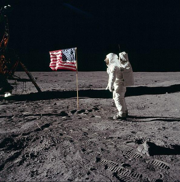 Astronaut Buzz Aldrin salutes the US flag on the moon, 20 July 1969 (NASA photo)