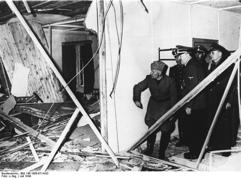 Adolf Hitler showing Benito Mussolini the wreckage after the unsuccessful assassination attempt on Adolf Hitler, Wolfsschanze, Rastenburg, Germany, late July 1944 (German Federal Archive: Bild 146-1969-071A-03)