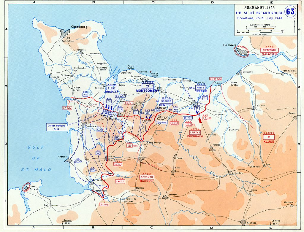Map showing the Allied breakthrough at Saint-Lô, France, 25-31 July 1944 (US Military Academy)