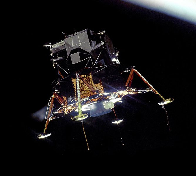 Apollo 11 Lunar Module Eagle descending to the moon, 20 July 1969, photographed from command module Columbia (NASA photo)