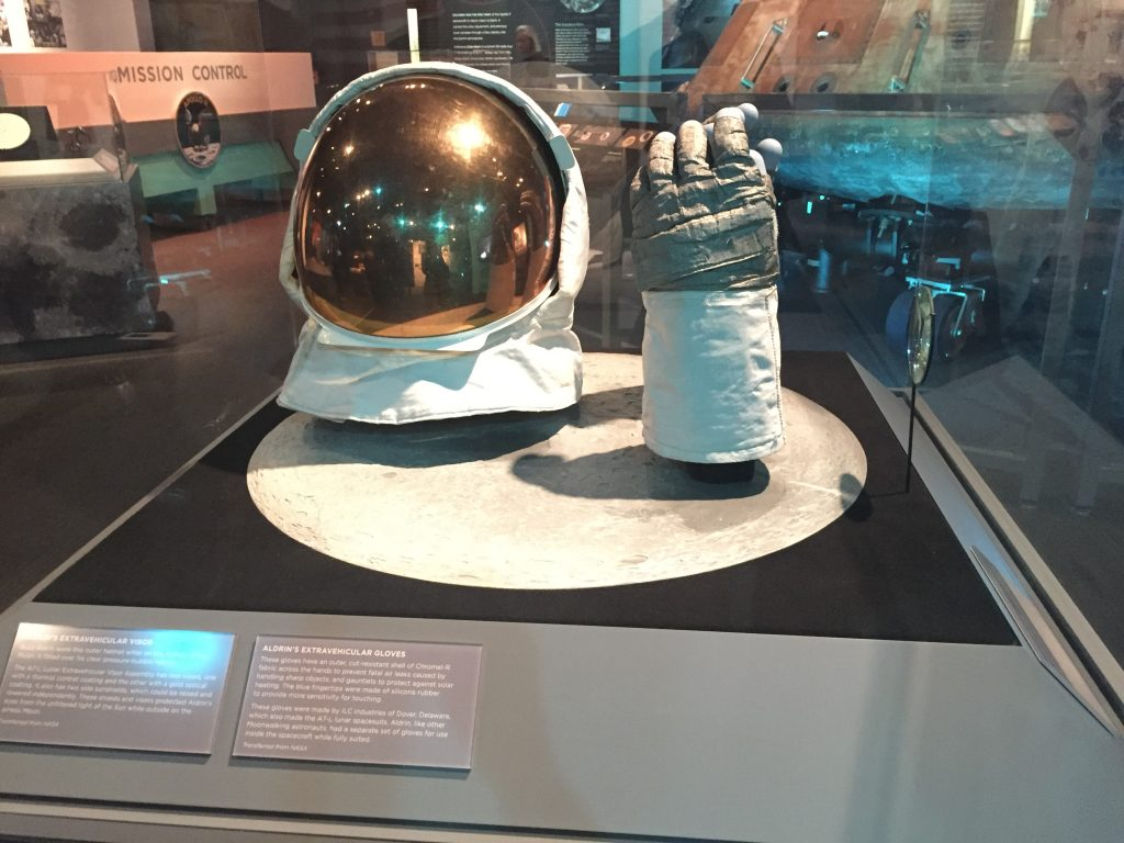 Astronaut Buzz Aldrin's visor and glove from the Apollo 11 mission, on display at Heinz History Center, Pittsburgh, PA, October 2018 (Photo: Sarah Sundin)