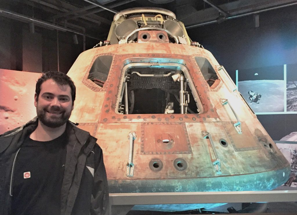 Stephen Sundin with the actual Apollo 11 command module Columbia, on display at Heinz History Center, Pittsburgh, PA, October 2018 (Photo: Sarah Sundin)