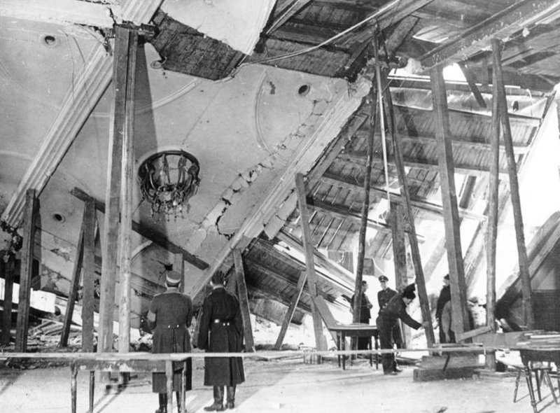 Damage in the Bürgerbräukeller in Munich, Germany after the failed assassination attempt on Hitler, 9 Nov 1939 (German Federal Archive: Bild 183-E12329)
