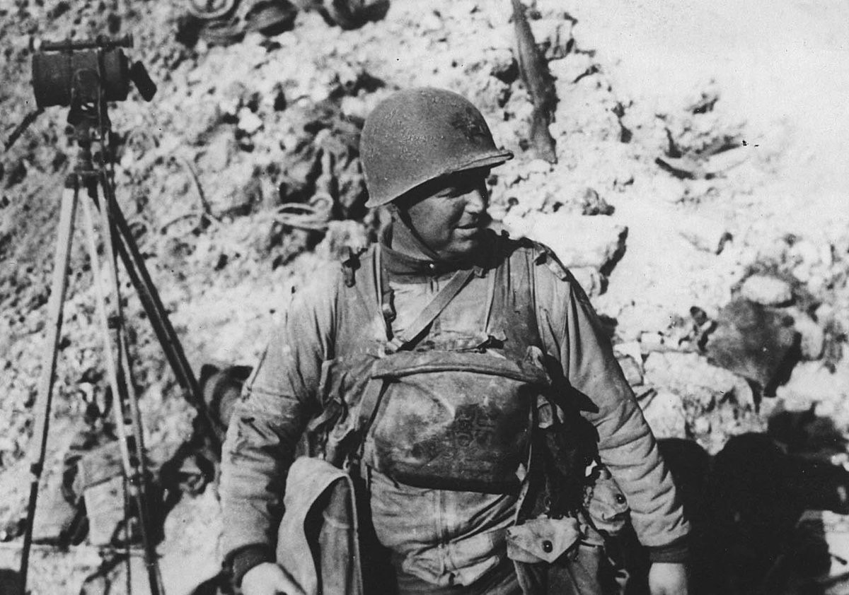 Lt. Col. James Earl Rudder, commander of US 2nd Ranger Battalion, on Pointe du Hoc in Normandy, 7 June 1944 (Texas A&M Cushing Library)