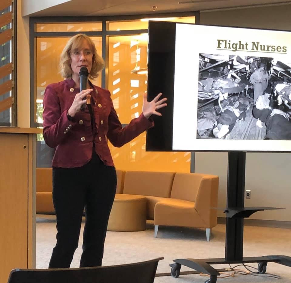 Sarah Sundin speaking at Fresno State University, November 4, 2019
